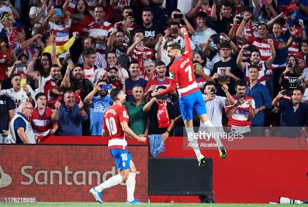 Alvaro Vadillo of Granada CF celebrates after scoring his team's second goal during the Liga match between Granada CF and FC Barcelona at Estadio...