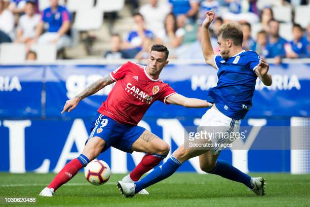 Alvaro Vazquez Garcia of Real Zaragoza Carlos Hernandez of Real Oviedo during the match between Real Oviedo v Real Zaragoza at the Estadio Carlos...