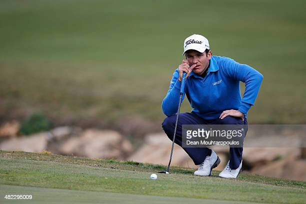 Alvaro Velasco of Spain lines up his putt on the 10th green during day one of the NH Collection Open held at La Reserva de Sotogrande Club de Golf on...