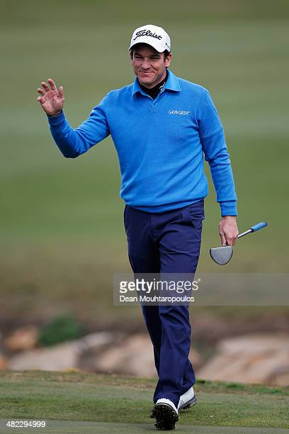 Alvaro Velasco of Spain smiles after he makes his putt on the 10th green during day one of the NH Collection Open held at La Reserva de Sotogrande...