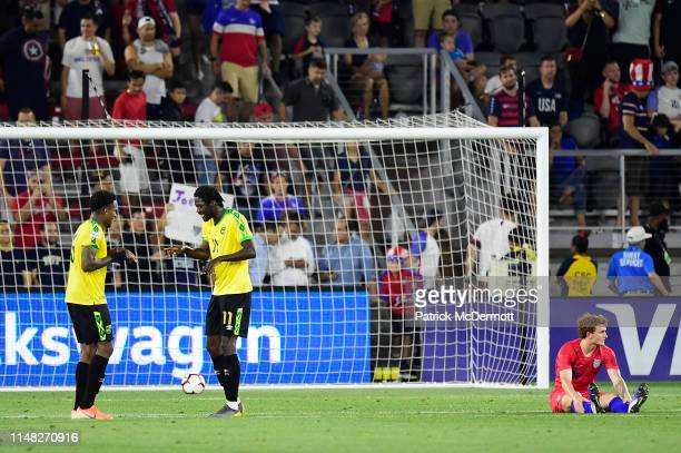 Alvas Powell and Shamar Nicholson of Jamaica celebrate after Jamaica defeated the United States 10 during an International Friendly at Audi Field on...