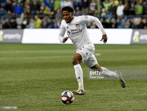 Alvas Powell of FC Cincinnati goes after a ball during the first half of the match against the Seattle Sounders at CenturyLink Field on March 2, 2019...