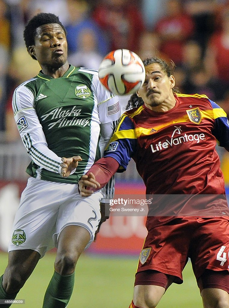 Alvas Powell #2 of the Portland Timbers and Devon Sandoval #49 of Real Salt Lake try for the ball during the second half of their game at Rio Tinto Stadium April 19, 20 14 in Sandy, Utah. Real Salt Lake won 1-0.