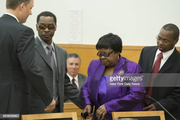 Alvena Jennette and Louise Austin mother of late Darryl Austin appear in Supreme Court Justice Neil J Firetog's courtroom with attorney Pierre...