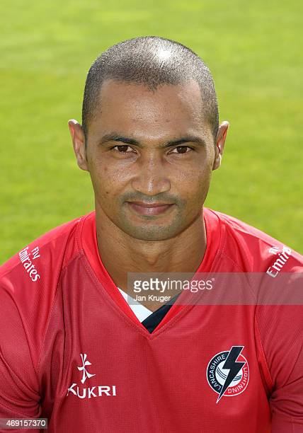 Alvero Petersen poses during the Lancashire CCC Photocall at Old Trafford on April 10 2015 in Manchester England