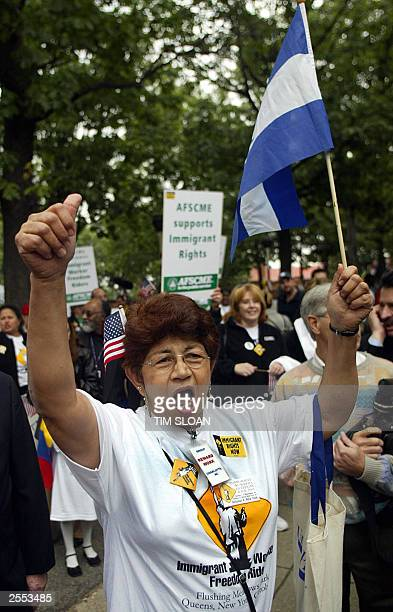 Alveva Acosta a Honduran immigrant from Charlotte North Carolina cheers for an arriving by bus as part of the Immigrant Freedom Ride 01 October 2003...