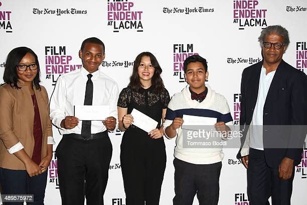 Alvie Johnson filmmakers Isaiah Ray Pearce Leslie Torres Guillermo Mora and Film critic Elvis Mitchell attend the Film Independent at LACMA screening...