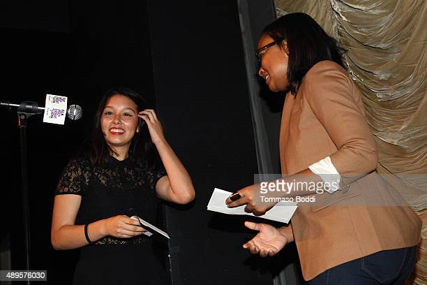 Alvie Johnson honors filmmaker Leslie Torres with a scholarship during the Film Independent at LACMA screening and QA of Ghetto Film School Los...