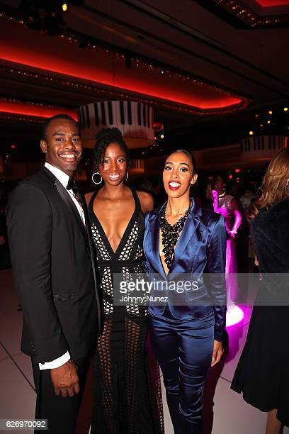 Alvin Ailey American Dance Theater company dancers Jamar Roberts Ashley Mayeux and Constance Stamatiou Lopez attend An Evening of Ailey And Jazz 2016...