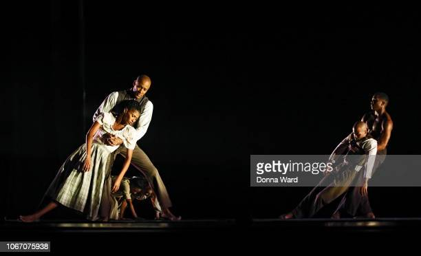 Alvin Ailey American Dance Theater Dancers rehearse the world premiere of Lazarus during the 60th Anniversary season at New York City Center on...