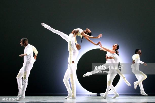 Alvin Ailey Dancers rehearse 'EN' before its world premiere at the David H Koch Theater Lincoln Center in New York City New York on June 13 2018 in...
