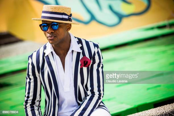 Alvin Alto is seen during Pitti Immagine Uomo 92 at Fortezza Da Basso on June 14 2017 in Florence Italy