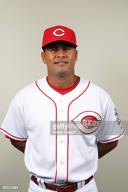 Alvin Colina of the Cincinnati Reds poses for a portrait during photo day at Ed Smith Stadium on February 22 2008 in Sarasota Florida
