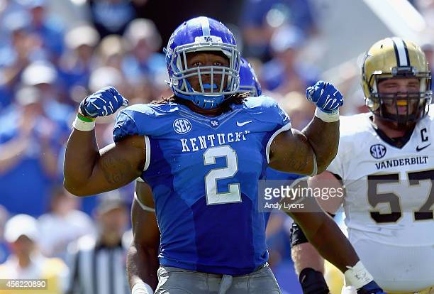 97c34386f82 Alvin Dupree of the Kentucky Wildcats celebrates after a sack during the  game against the Vanderbilt