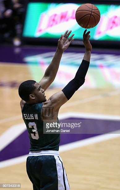 Alvin Ellis III of the Michigan State Spartans puts up a shot against the Northwestern Wildcats at WelshRyan Arena on January 28 2016 in Evanston...
