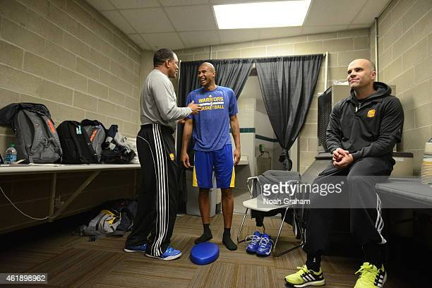 Alvin Gentry and Leandro Barbosa of the Golden State Warriors talk before the game against the Utah Jazz on January 13 2015 in Salt Lake City Utah...
