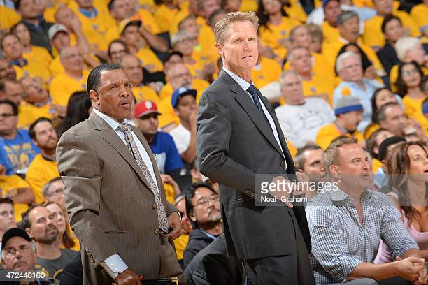 Alvin Gentry and Steve Kerr of the Golden State Warriors during a gamef against the Memphis Grizzlies in Game Two of the Western Conference...