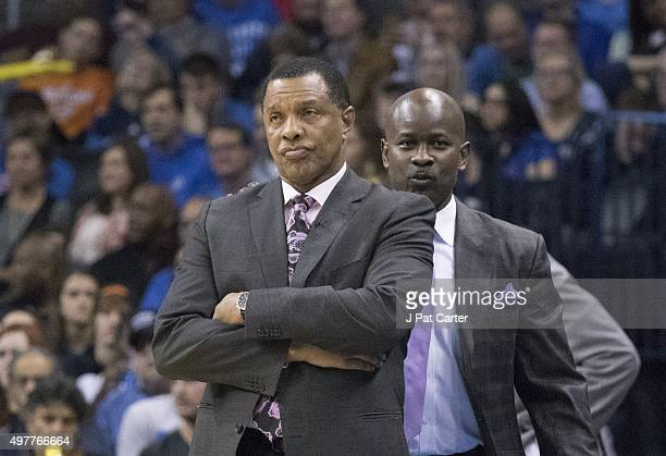Alvin Gentry coach of the New Orleans Pelicans reacts as he watches game action against the Oklahoma City Thunder during the third quarter of a NBA...