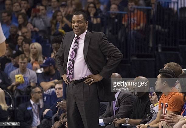 Alvin Gentry coach of the New Orleans Pelicans watches game action against the Oklahoma City Thunder during a NBA game at the Chesapeake Energy Arena...