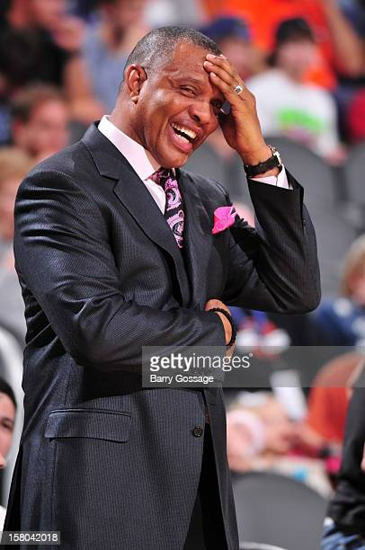 Alvin Gentry head coach of the Phoenix Suns has a laugh on the sidelines as the Suns host the Orlando Magic on December 9 2012 at US Airways Center...
