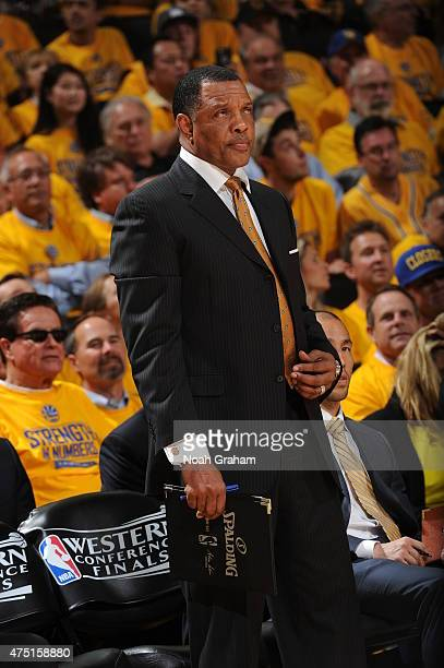 Alvin Gentry of the Golden State Warriors stands on the court during a game against the Houston Rockets in Game Five of the Western Conference Finals...