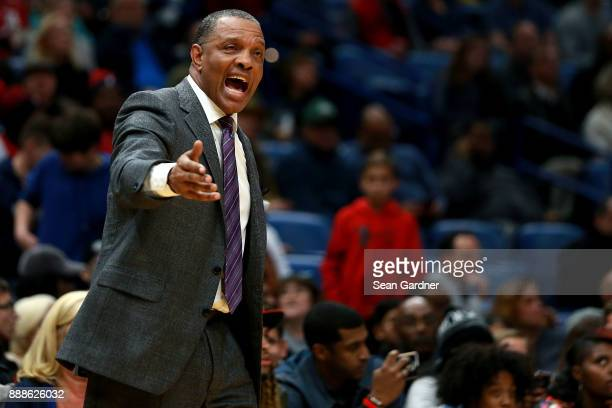 Alvin Gentry of the New Orleans Pelicans calls for a time out during the second half of a NBA game against the Sacramento Kings at the Smoothie King...