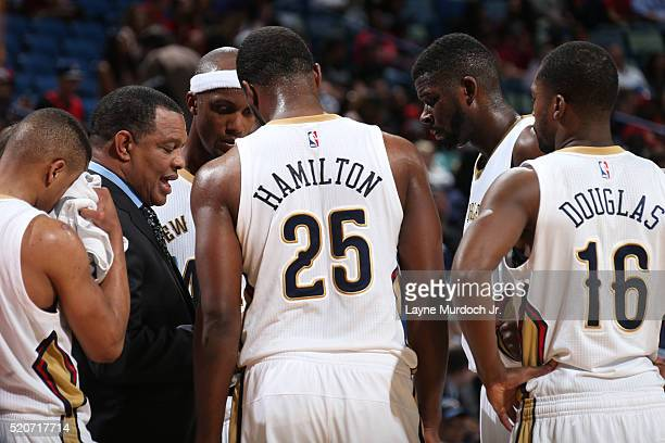 Alvin Gentry of the New Orleans Pelicans coaches the team against the Chicago Bulls on April 11 2016 at the Smoothie King Center in New Orleans...