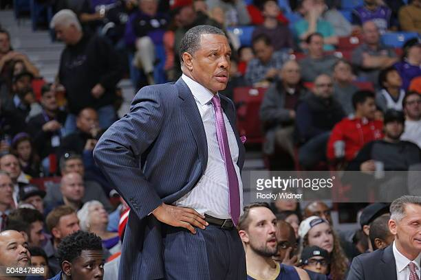 Alvin Gentry of the New Orleans Pelicans is seen during the game against the Sacramento Kings on January 13 2016 at Sleep Train Arena in Sacramento...