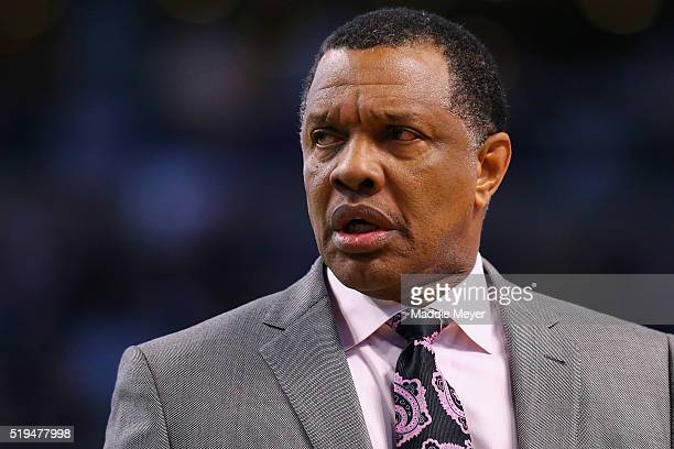Alvin Gentry of the New Orleans Pelicans looks on during the fourth quarter against the Boston Celtics at TD Garden on April 6 2016 in Boston...