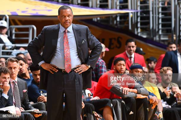 Alvin Gentry of the New Orleans Pelicans looks on during the game against the Los Angeles Lakers on April 11 2017 at STAPLES Center in Los Angeles...