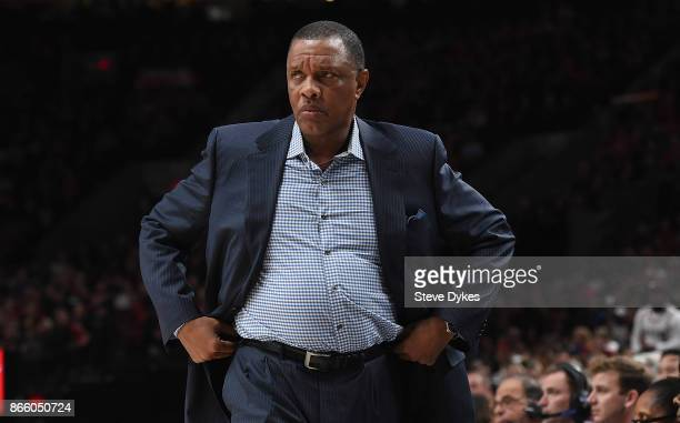 Alvin Gentry of the New Orleans Pelicans paces the sidelines during the first quarter of the game against the Portland Trail Blazers at Moda Center...