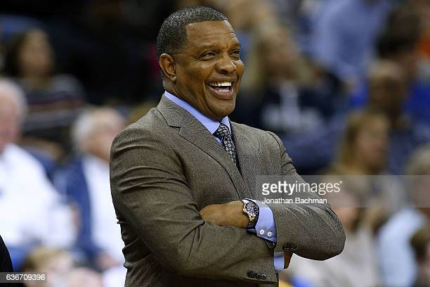 Alvin Gentry of the New Orleans Pelicans reacts during the first half of a game against the Oklahoma City Thunder at the Smoothie King Center on...
