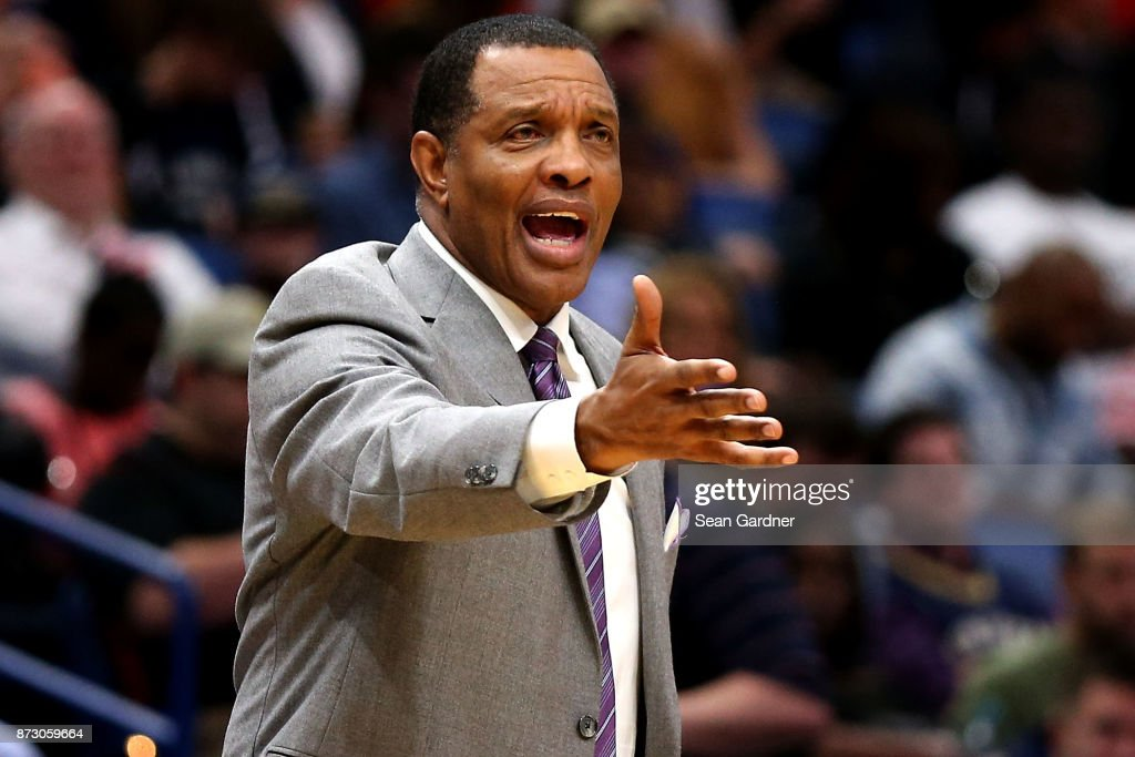 Alvin Gentry of the New Orleans Pelicans reacts to a call during the second half of a game against the LA Clippers at the Smoothie King Center on November 11, 2017 in New Orleans, Louisiana.