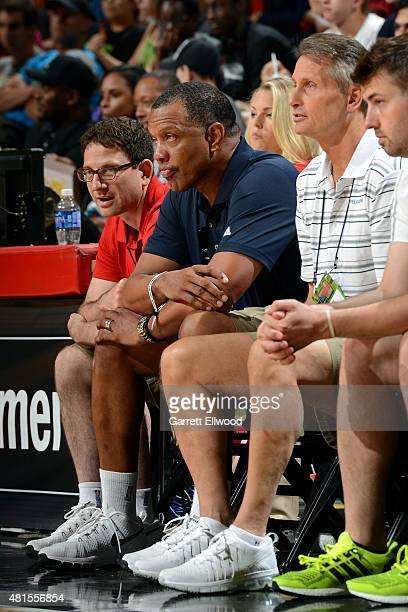 Alvin Gentry of the New Orleans Pelicans sits on the sideline during a game against the Phoenix Suns on July 19 2015 at the Thomas Mack Center in Las...