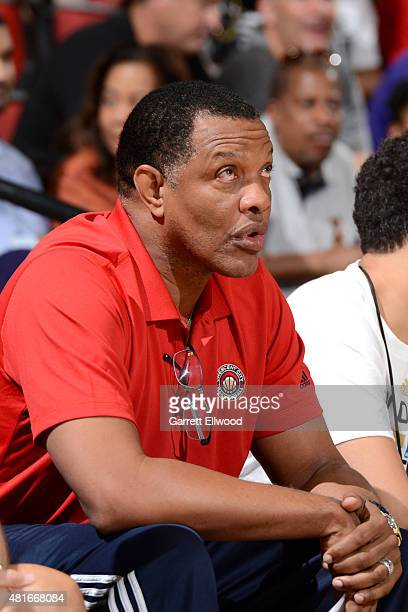Alvin Gentry of the New Orleans Pelicans sits on the sideline during a game against the Dallas Mavericks on July 11 2015 at the Cox Pavilion in Las...