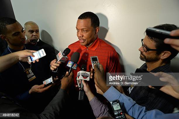 Alvin Gentry of the New Orleans Pelicans talks to the media after the game against the Golden State Warriors on October 27 2015 at ORACLE Arena in...