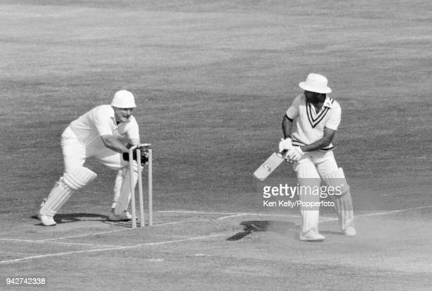 Alvin Kallicharran of Warwickshire is stumped by Somerset wicketkeeper Derek Taylor for 19 runs in the Schweppes County Championship match between...
