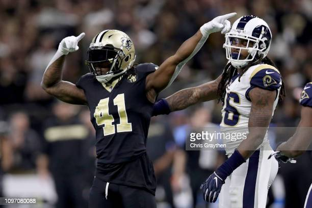 Alvin Kamara of the New Orleans Saints celebrates a play against the Los Angeles Rams during the first quarter in the NFC Championship game at the...