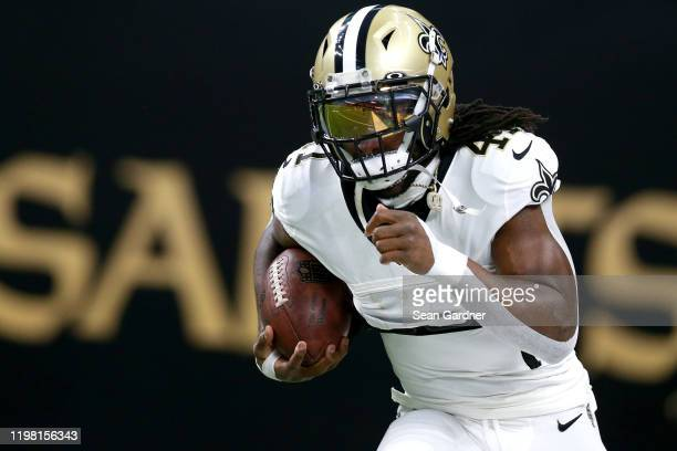 Alvin Kamara of the New Orleans Saints in action during the NFC Wild Card Playoff game against the Minnesota Vikings at Mercedes Benz Superdome on...