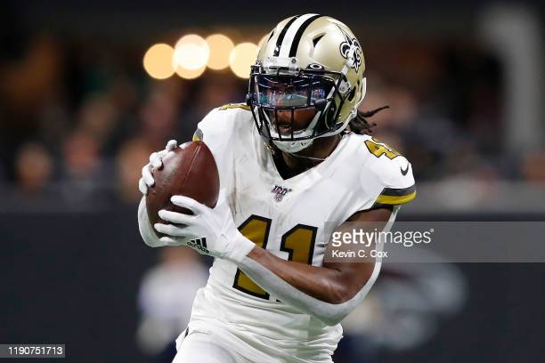 Alvin Kamara of the New Orleans Saints makes a reception against the Atlanta Falcons during the second quarter at Mercedes-Benz Stadium on November...