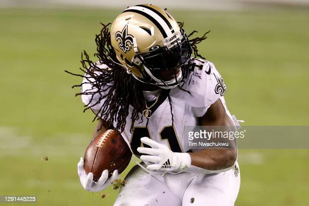 Alvin Kamara of the New Orleans Saints makes a reception against the Philadelphia Eagles at Lincoln Financial Field on December 13, 2020 in...