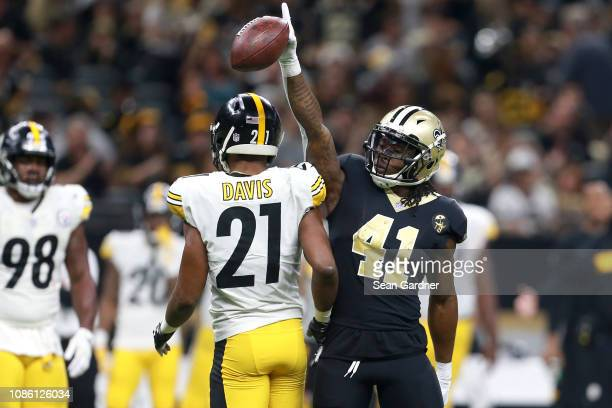 Alvin Kamara of the New Orleans Saints reacts during the second half against the Pittsburgh Steelers at the MercedesBenz Superdome on December 23...