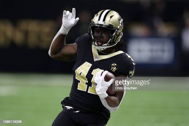 Alvin Kamara of the New Orleans Saints runs with the ball during the first half against the Pittsburg Steelers at the MercedesBenz Superdome on...