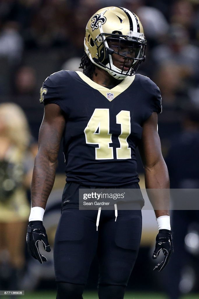 Alvin Kamara of the New Orleans Saints stands on the field ...