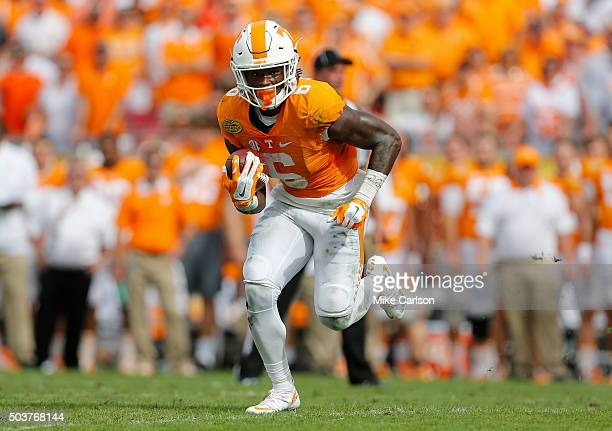 Alvin Kamara of the Tennessee Volunteers against the Northwestern Wildcats during the Outback Bowl at Raymond James Stadium on January 1 2016 in...