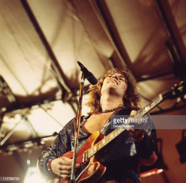 Alvin Lee British rock guitarist and singer with Ten Years After during a live concert performance on stage at the Reading Festival in Reading...