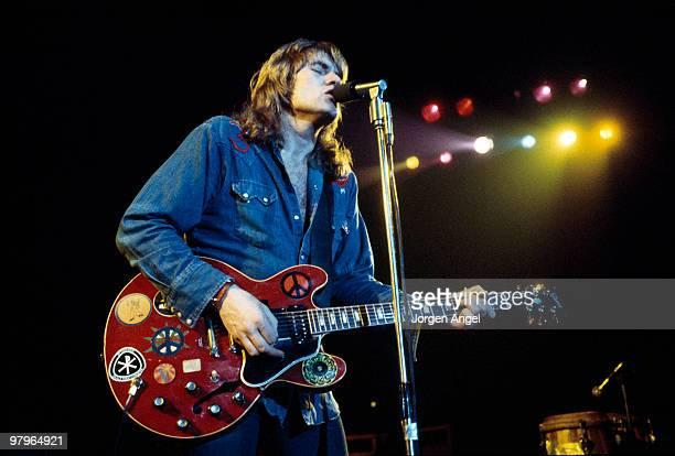 Alvin Lee of Ten Years After performs on stage at KB Hallen on April 29th 1974 in Copenhagen Denmark He plays a Gibson ES335 guitar