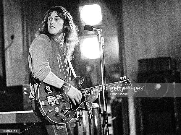 Alvin Lee of Ten Years After performs on stage at the Civic Centre Dunstable on 5th April 1973 He plays a Gibson ES335 guitar