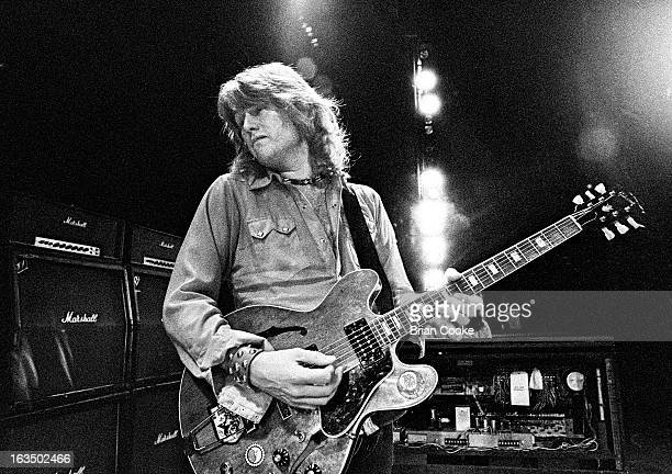 Alvin Lee of Ten Years After performs on stage at The Rainbow Theatre Finsbury Park London on 14 July 1972 He plays a Gibson ES335 guitar with a...