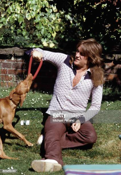 Alvin Lee of Ten Years After portrait at home with dog at Hook End Manor later Hookend recording studio Oxfordshire UK June 1973